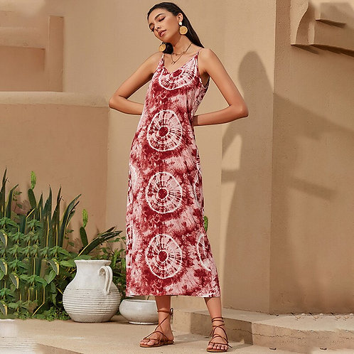 Red Tie-Dye Midi Dress
