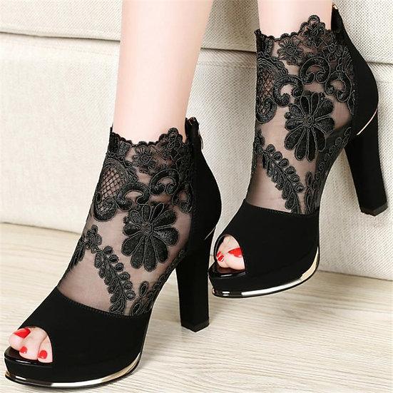 Peep Toe Embroidered lace heels