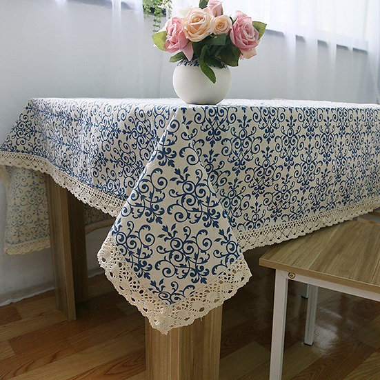 Blue and White Retro Floral TableCloth