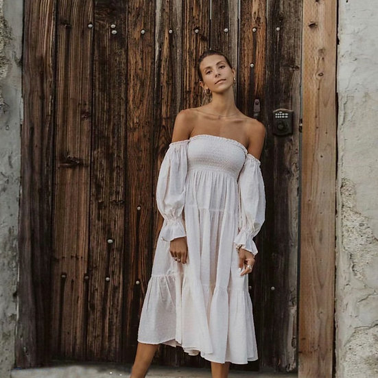 White off shoulder Puff Sleeve Dress