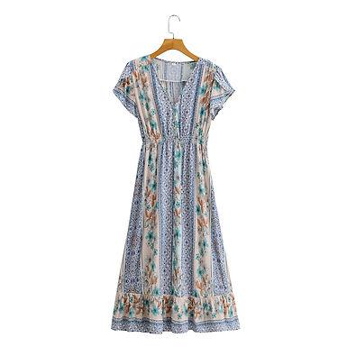 Boho V-Neck Floral Print Maxi Dress