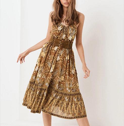 Floral Print Spaghetti Strap Midi Dress