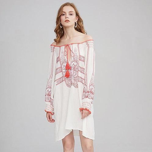 Slash Neck Embroidered Mini Dress