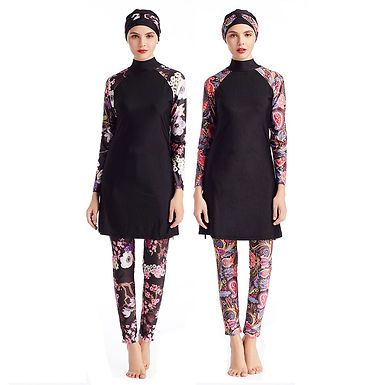 Floral Long Sleeve Modest Swimsuit