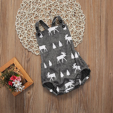Deer Print Cross Backless Playsuit Sizes  0-18m
