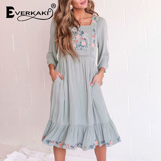 Embroidered Long Sleeve Dress with pockets