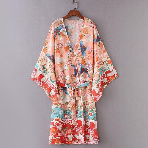 Vintage Floral Print Long Kimono