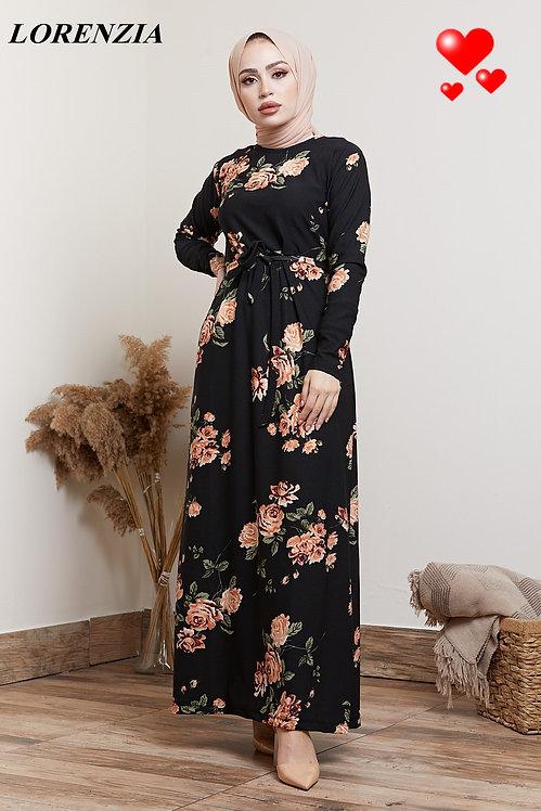 Black Floral Printed Belted Maxi Dress