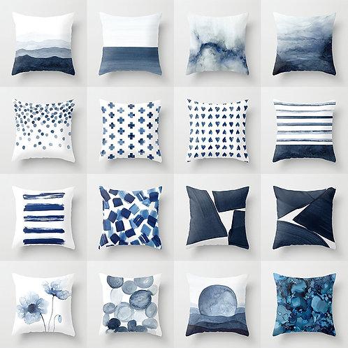 Watercolour Blue Printed Cushion Covers
