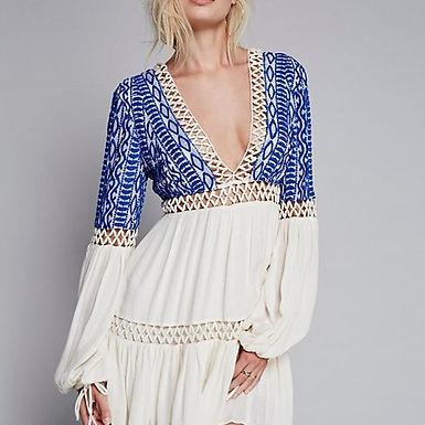 Deep V-neck  Embroidered Mini Dress