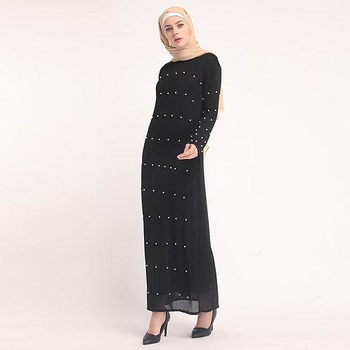 Beaded Ribbed Straight Maxi Dress