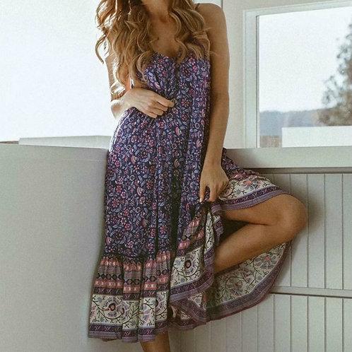 Purple Floral Print Slip Midi Dress