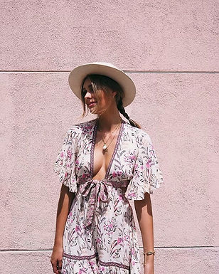 Floral Print Short Sleeve v Neck Pleated Maxi Dress
