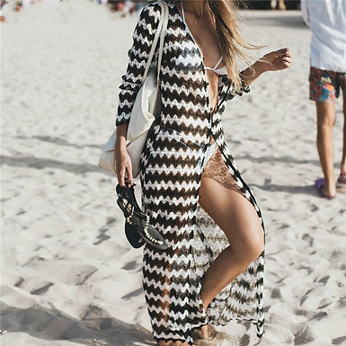 Black and White Crochet Buttoned Long Cardigan