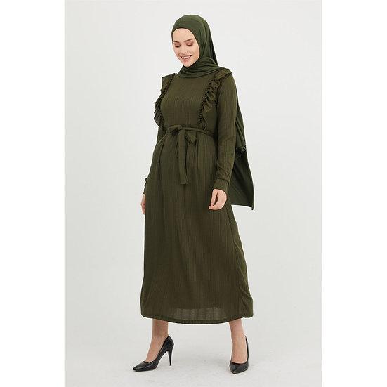 Ruffle Detail Belted Women's Maxi Dress