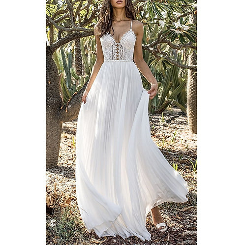 Boho White Lace Maxi Dress