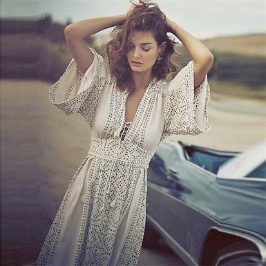 Boho V-Neck Flare Sleeve Long Dress