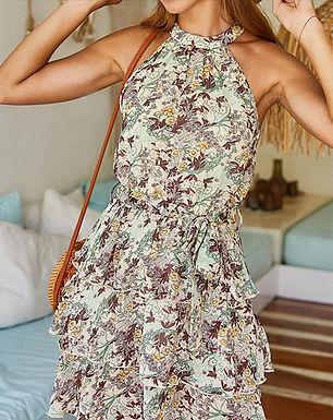 Floral Halter Ruffle Mini Dress