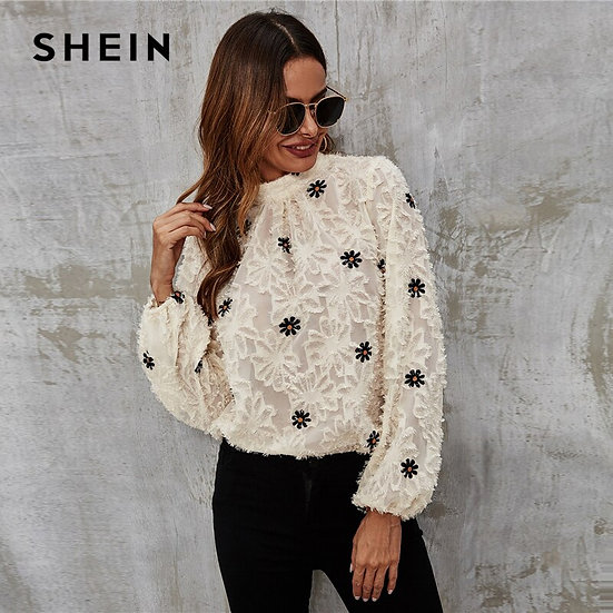 Flower Embroidered Fuzzy Keyhole Back Blouse
