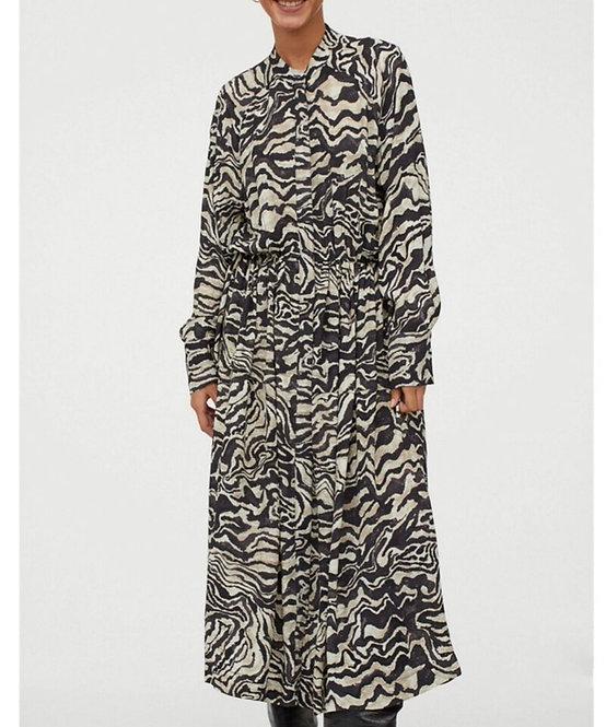 Zebra Print Long Sleeve Maxi Dress