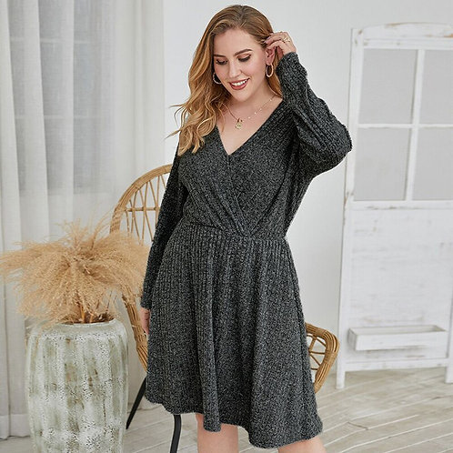 Plus Size Knitted Long Sleeve A-Line Dress
