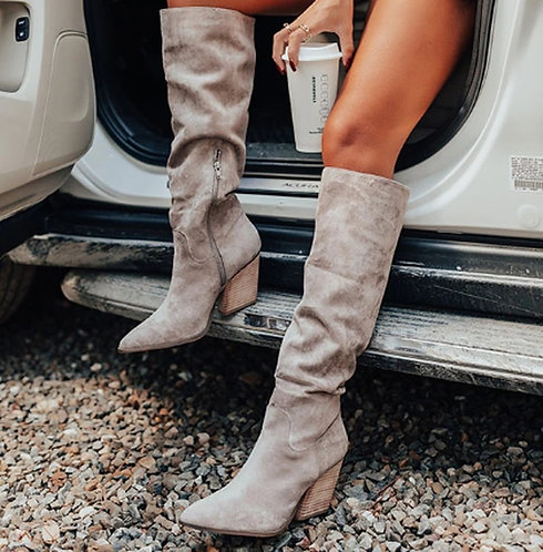 Grey Soft Knee High Boots