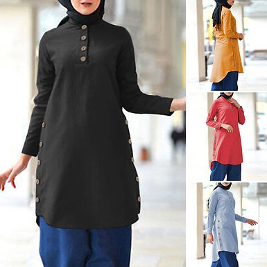 Buttoned Long Top ( Plus sizes available)