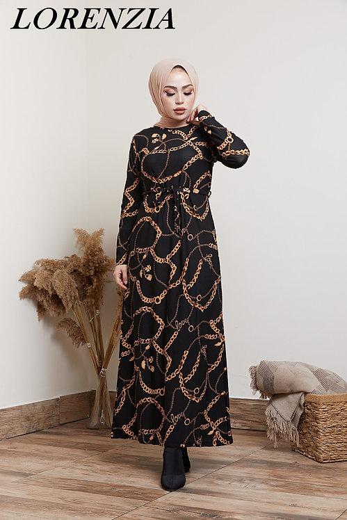 Black + Gold Printed Maxi Dress