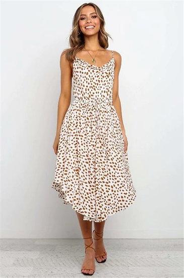Spotted Print Midi Dress