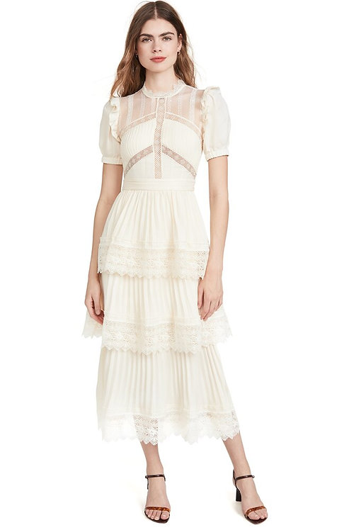 Cream Lace Pleated Layered Dress