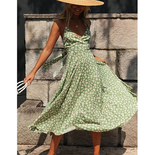 Floral Halter Neck Maxi Dress