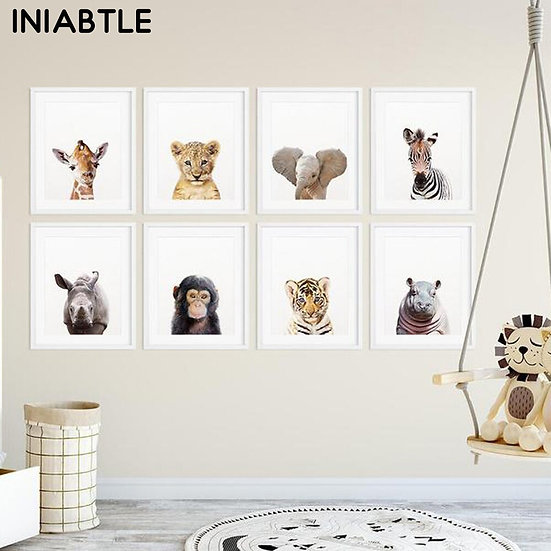 Safari Baby Animals Wall Art
