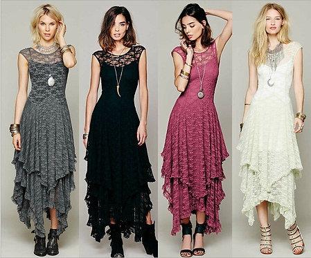 Boho Lace Double Layered Ruffled Low V-Back Dress