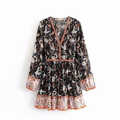 Black Crane Floral Print Long Sleeve Mini Dress