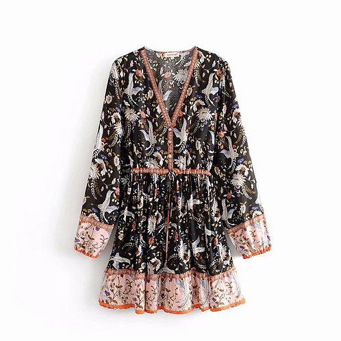 Black Crane Floral Print Long Sleeve Mini Dress