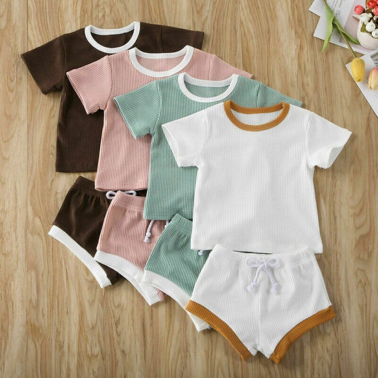 2Pcs Ribbed Top +Shorts Sizes 0-24month