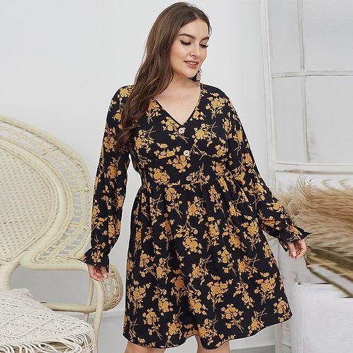 Plus Size Floral Print Mini Dress