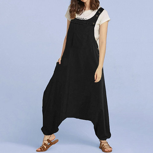 Oversized Backless Side Pockets Harem Jumpsuit (plus sizes available)