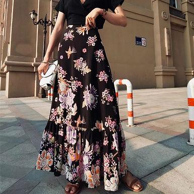 Bohemian Bird Floral Printed Maxi Skirt
