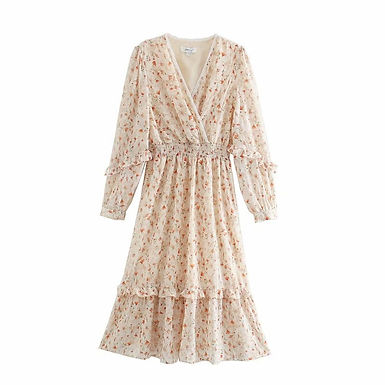 Floral V-neck Long Sleeve Midi Dress