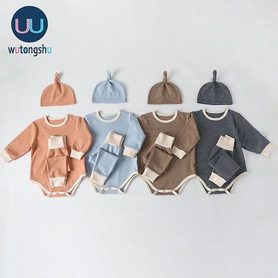 Newborn Rompers+Pants+Hat Set