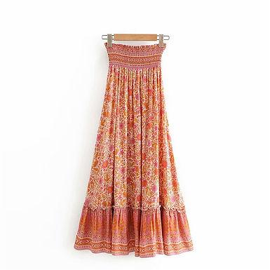Floral Print  Elastic Waist Ruffle Maxi Skirt