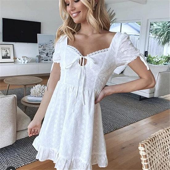 White Short Sleeve Lace Mini Dress