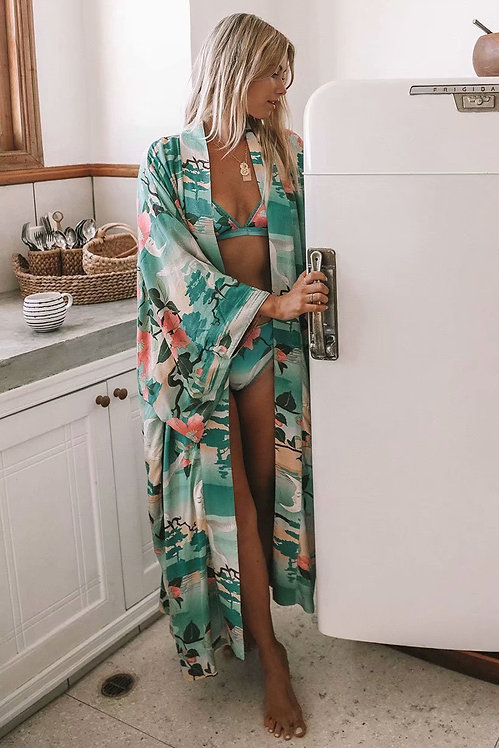 Green Crane Floral Print Kimono