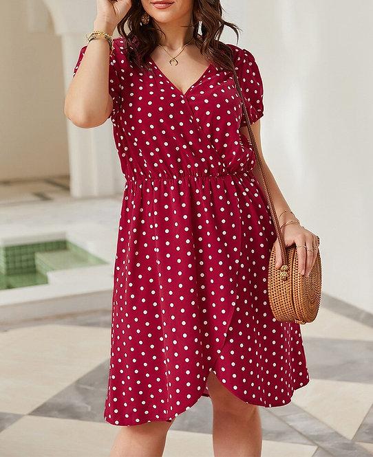 Plus Size Polka Dot Short Sleeve Dress
