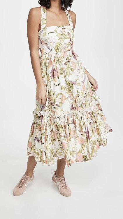 Floral Halter Back Cross Midi Dress