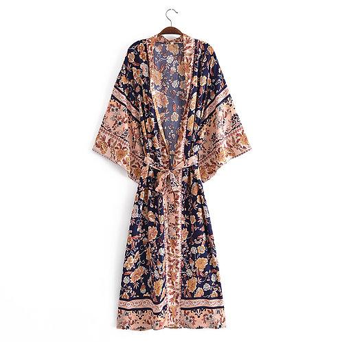 Floral Print Bat Sleeve Kimono