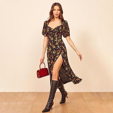 Black Floral Printed Split Maxi Dress