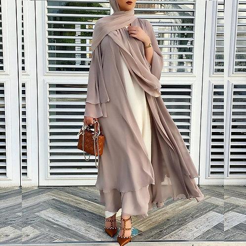 Open Abaya Kimono with Matching Scarf