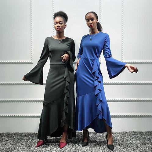 Flare Sleeve, Ruffled Maxi Dress